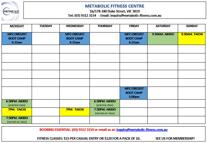 MFC Timetable